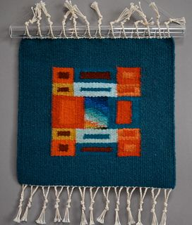 Donna Loraine Contractor, Turquoise and Orange Fractured Square #3