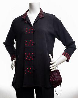 Black Rayon Swing Jacket with Red/ Black Trim