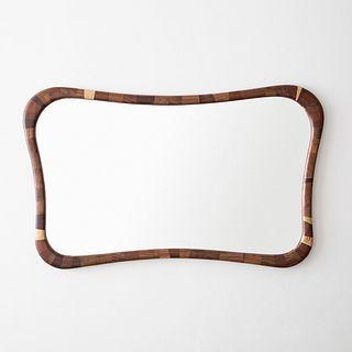 STACKED Rectangular Walnut Mirror