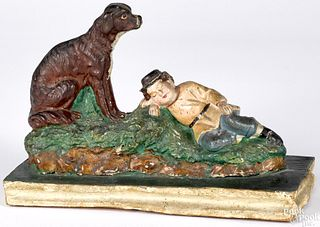 Sleeping boy and dog pipsqueak toy, 19th c.