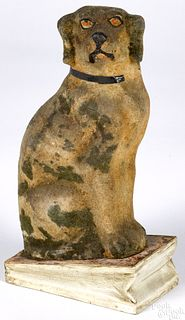 Seated dog pipsqueak toy, 19th c.