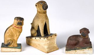Three dog pipsqueak toys, 19th c.
