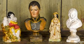 Four Pennsylvania chalkware figures and busts