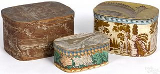 Three wallpaper hat boxes, 19th c.