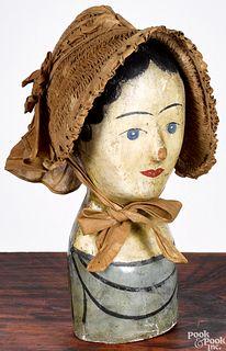 Papier-mâché wig or hat stand, with bonnet