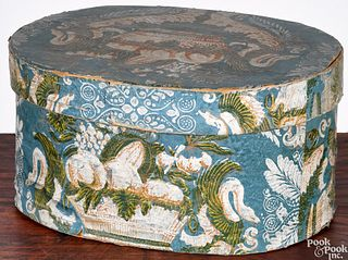 Wallpaper covered bentwood hat box, 19th c.