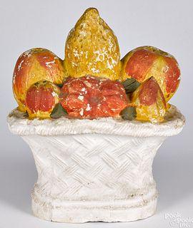 Large Pennsylvania chalkware fruit basket, 19th c