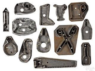 Collection of tin cookie cutters 19th c.