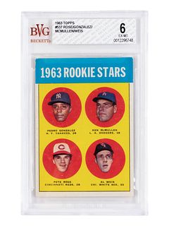 A 1963 Topps Pete Rose Rookie Stars No. 537 Baseball Card BVG (Beckett Vintage Grading) EX-MT 6