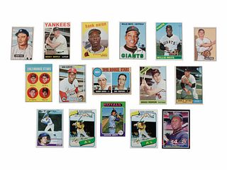 A Group of 16 Hall of Fame and Rookie Baseball Cards including Mantle, Aaron, Bench Rookie,