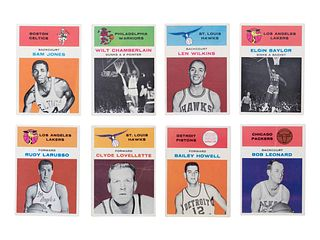A Group of Eight 1961 Fleer Basketball Cards including Wilt Chamberlain,