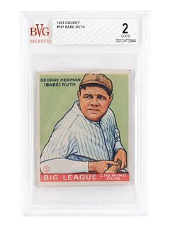 A 1933 Goudey Babe Ruth No. 181 Baseball Card BVG Good (Beckett Vintage Grading) 2