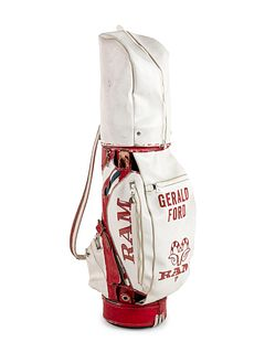 A Set of President Gerald R. Ford Tournament Used Golf Clubs and Bag, Height of bag 48 inches.