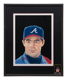 A 1996 Dick Perez Original Greg Maddux Donruss Diamond Kings Artwork, 17 1/2 x 13 inches
