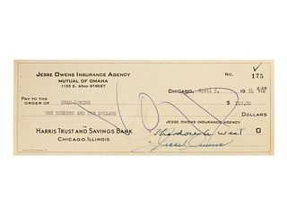 A 1954 Jesse Owens Signed Check,