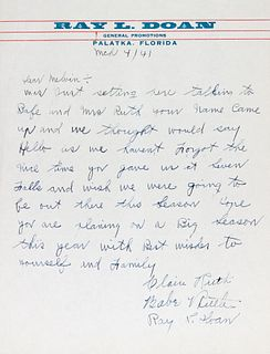 A Babe Ruth, Claire Ruth, Ray Doan Signed Letter (Beckett LOA),