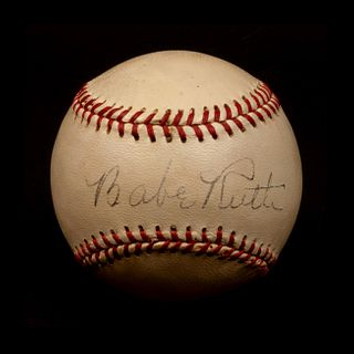 A Babe Ruth Single Signed Baseball (Beckett Authentication Services Encapsulated),