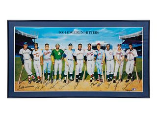 A 1988 500 Home Run Club Ron Lewis Multi Signed Print, 18 x 36 inches