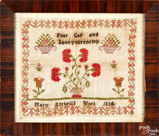 Pair of small silk on linen samplers dated 1834