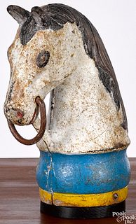Painted cast iron horse head hitching post finial