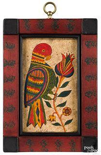 David Y. Ellinger watercolor fraktur of a parrot