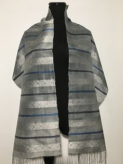 Sheer Handwoven, Hand-dyed Silk Shawl