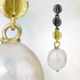 Mini Triple Blossom Chain Earrings with Ming Pearls