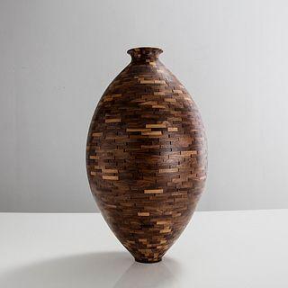 STACKED Walnut Vase