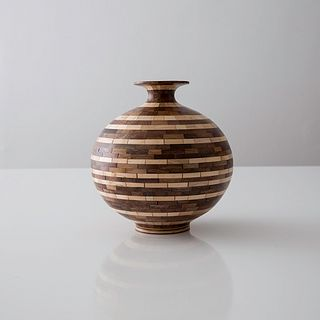 STACKED Striped Sphere #3, Walnut + Maple