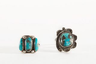 Two Navajo Silver and Turquoise Rings, ca. 1950-1960
