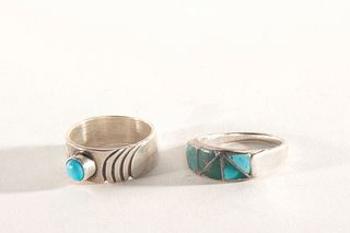 Two Navajo Turquoise and Silver Rings, ca. 1960