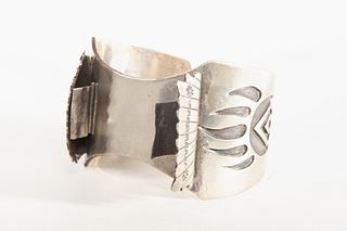 A Navajo Silver Watch Band with Bear Claw Design, ca. 1985