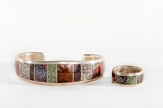 A Navajo Stone Inlay Sterling Silver Bracelet and Ring Set