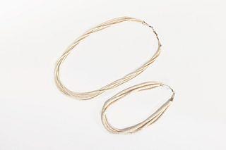 Two Santo Domingo White Heishi Necklaces, ca. 1970-1980
