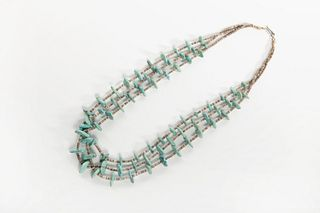 A Pueblo Three Strand Treated Turquoise and Heishi Necklace