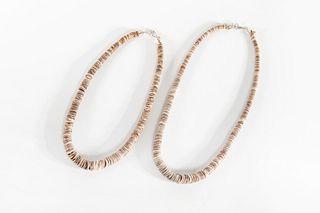 Two Santo Domingo Brown Heishi Necklaces, ca. 1970-1980