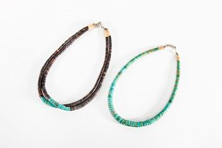 Two Pueblo Heishi Necklaces, ca. 1980