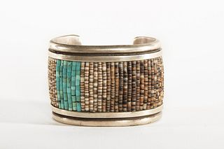 A Navajo Heishi and Turquoise Silver Cuff, ca. 1980-1990