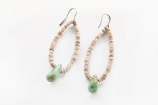 A Pair of Heishi and Turquoise Tab Earrings