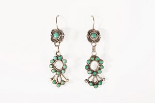 A Pair of Zuni Silver and Turquoise Fan Earrings