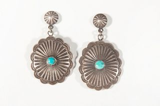 A Pair of Navajo Silver and Turquoise Earrings
