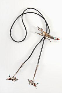 A Zuni Stone Inlay Roadrunner Bolo Tie, ca. 1970-1980