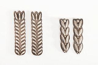 Two Pairs of Navajo Silver Collar Tabs, ca. 1930