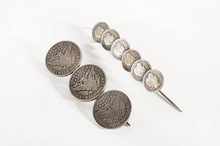 Two Isleta Pueblo Coin Manta Pins, ca. 1900-1915