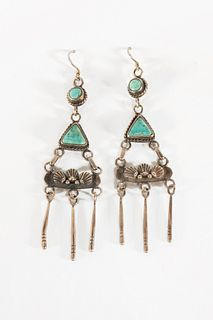 A Pair of Navajo Silver and Turquoise Earrings, ca. 1945