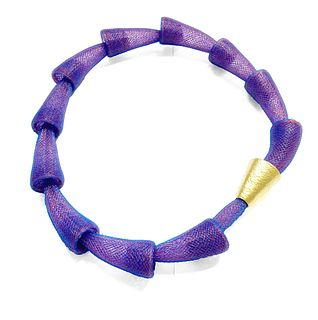 Pod Necklace Purple Gold Clasp