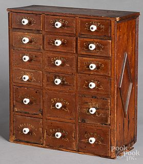 Pine spice cabinet, late 19th c.