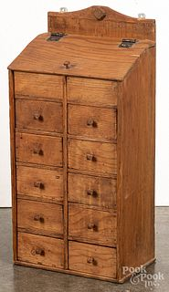 Pine hanging spice cabinet, late 19th c.