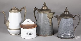 Three graniteware coffee pots with pewter mounts