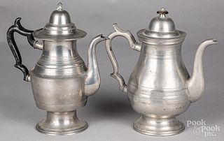 Two pewter coffee pots